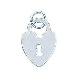 Sterling Silver Heart Lock Charm Jewelry