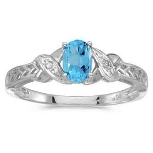 White gold December Birthstone Oval Blue Topaz And Diamond Ring