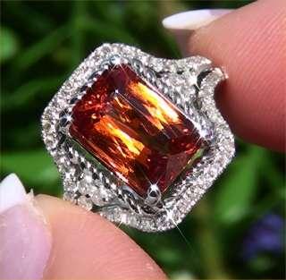 Estate 5.70ct Natural Spessartite Garnet Diamond Vintage Ring 14k