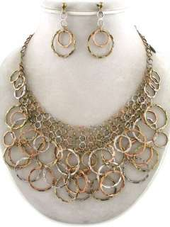 Tri Color Metal Circle Collar Necklace & Earring Set