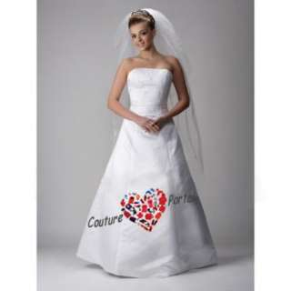 line Strapless Floor length Bridal Wedding Dress
