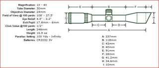 Leapers 1 4x24 30mm CQB Circle Dot RGB Scope + QD Rings 4712274528307