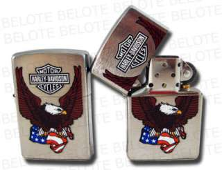 Zippo Harley Davidson Flag Brushed Chrome Lighter 24955