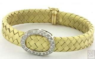 HEAVY 18K 2 TONE GOLD ELEGANT .84CT DIAMOND/SAPPHIRE WOVEN BRACELET