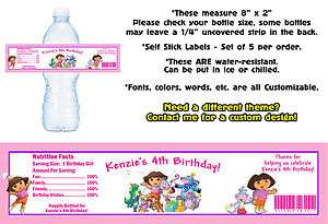 Go Diego ~ Printed Water Bottle Labels ~ Birthday Party Favors