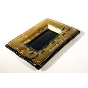 Glass with Gold Leaf Cigar Ashtray Milanese Glamour