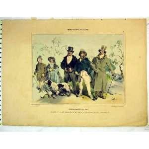 French Colour Print Men Women Dog Hunting Fashion
