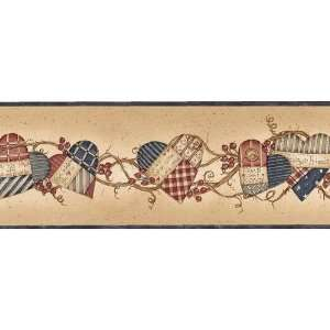 Blue and Beige Inspirational Hearts Wallpaper Border: Home Improvement