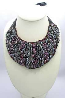Black/Purple Freshwater Pearl Ribbon Tie Necklace with Genuine Leather