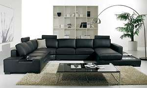 Modern Black U Shaped Leather Sectional Sofa w/ Lights