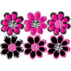Pink Zebra and Leopard Print Flower Removable Wall