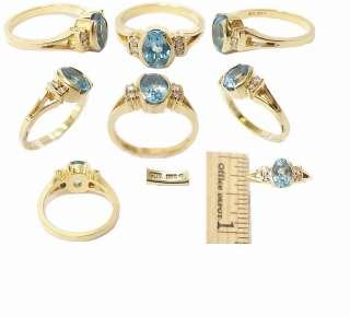 Rare 18K Gold, Natural Blue Topaz & Diamond Estate Ring