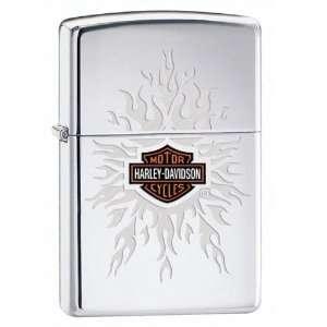 Zippo Harley Davidson Engraved Flames Lighter (Silver, 5 1