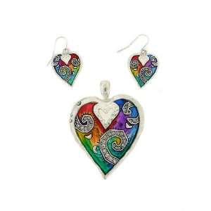 Fashion Jewelry ~ Multi Color Heart Pendant and Earrings Set