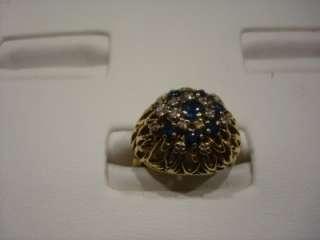 HEIRLOOM 14 KARAT YELLOW GOLD SAPPHIRE & DIAMOND COCKTAIL RING SIZE 5