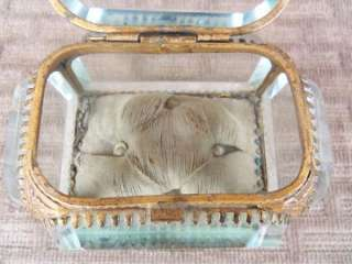 Antique Vintage Ormolu Thick Beveled Glass Jewelry Box Casket Watch #2