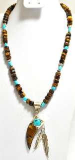 Eye & Turquoise Sterling Silver Feather Necklace   Running Bear
