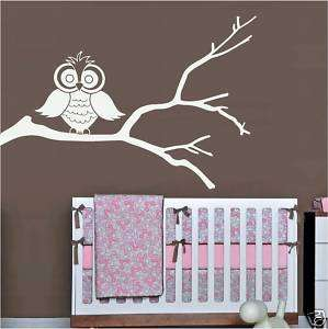 CUTE HOOT OWL on a TREE BRANCH vinyl home nursery decor