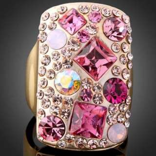 ARINNA Swarovski Crystal Pink Shield Yellow Gold P Ring
