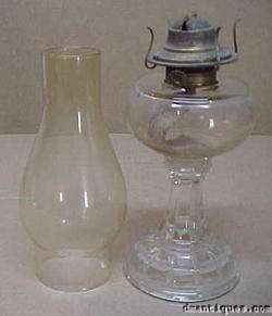 Antique c1880s Pattern Glass Oil Lamp + Eagle Burner
