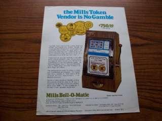 1977 MILLS BELL O MATIC SLOT MACHINE ARCADE FLYER