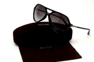 TOM FORD TF LEOPOLD 197 01B SUNGLASSES BLACK PLASTIC GREY LENS