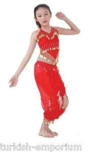 Child Girl Kids Belly Dance Costume Chiffon Top Pants