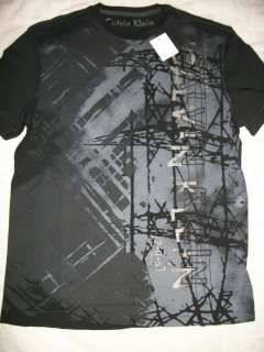 NEW CALVIN KLEIN MENS SS BLACK ROUND NECK COTTON GRAPHIC TEE SHIRT