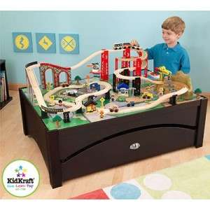 KidKraft Metro Train & Table Set Espresso Finish & Solid Wood Frame 87