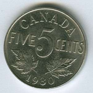 CANADIAN CANADA 1930 NICKEL 5 CENT PIECE COIN stock #80