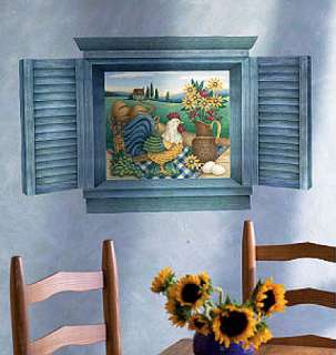 Rooster Sunflower Mural Blue Shutters Window Wall Mural Country View