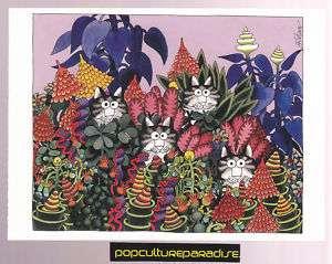 KLIBAN CATS ART POSTCARD Kitty Tropical Flowers