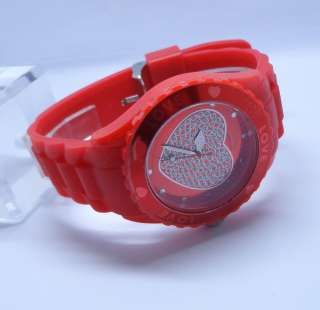 Silicone Wrist Watch Love Heart Wheel jewelry Unisex Jelly Candy Quart