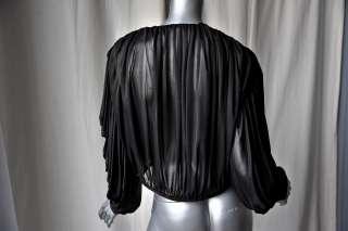 OMO NORMA KAMALI Black VINAGE op Blouse Shir COUURE |