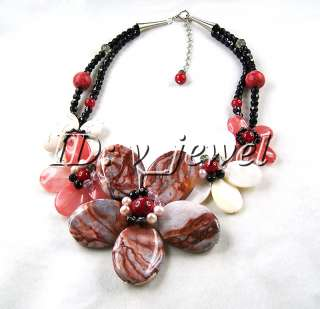 Onyx Coral Pearl flower necklace/earring set VJ