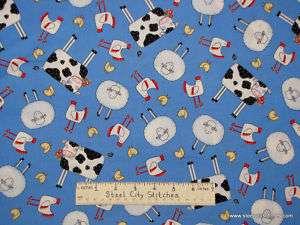 Timeless Treasures Farm Cow Sheep Chicken Blue Fabric 2.5 Yards