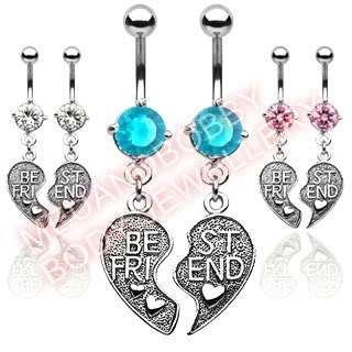 Pairs CZ Best Friend Belly Navel Bar Ring Dangles Mix
