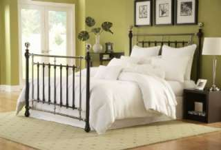 Queen Size Sheffield Bed w/ Frame   Glossy Black/Etched Silver Finish