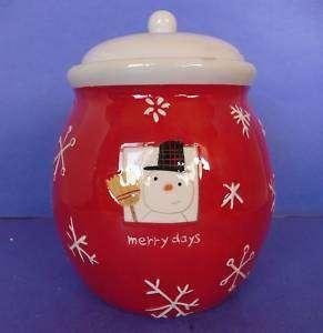 Hallmark Merry Days Christmas Snowman Cookie Jar Red