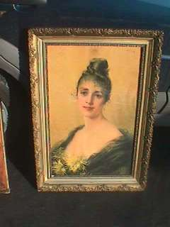 HUGE VICTORIAN LADY FRAMED PRINT SIGNED 1890S ASTI LIKE