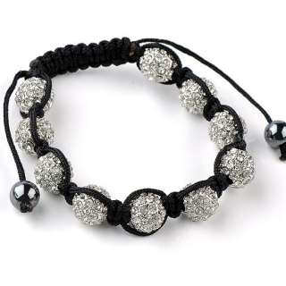 Clear Crystal Disco Ball Beads Macrame Hip Hop Bracelet Mens Woven