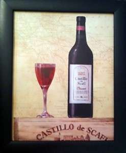 Framed Red/White Castillo Wine Bottles/Glasses Prints