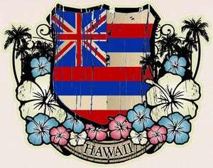 HAWAIIAN Vintage Art Decal HAWAII FLAG Luggage Sticker