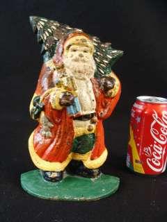 RARE! Antique Cast Iron Santa Claus Doorstop W/ Tree