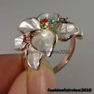 New Rose Gold GP Colorful Swarovski Crystals 8 Leaf Flower Cocktail