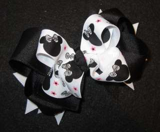 Minnie Mouse Zebra Hair Bow Baby Girls Boutique Hairbow Magic Party