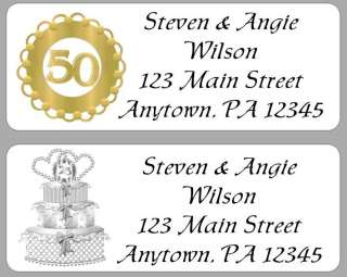 30 Personalized Anniversary Address Labels 25th, 50th