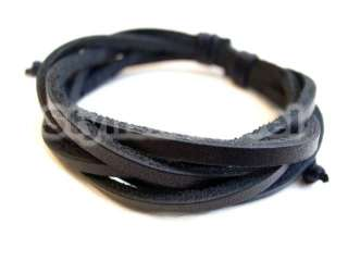 Hemp Surfer Braided New Cool Men Women Black White Leather Bracelet