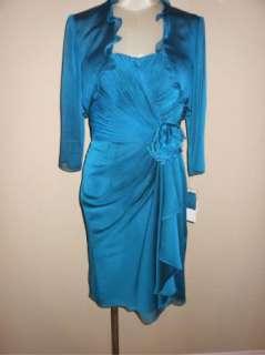 NWT Adrianna Papell Chiffon Twist Front Cocktail Dress & Jacket 12P