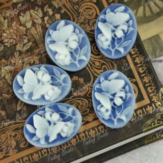 High quality blue Resin Flower Cabochon cameo RB0524